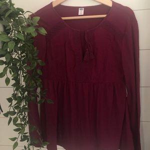 ON Fuschia Boho Long Sleeve Shirt - sz xs